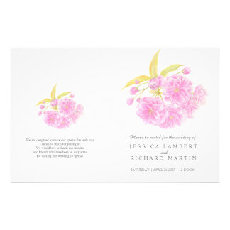Watercolor blossom pink wedding programme flyer