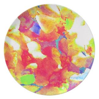 Watercolor Blossoms Art Photograph Plastic Picnic Dinner Plate