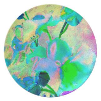 Watercolor Blossoms Art Photograph Plastic Picnic Plate