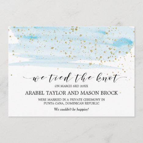 Watercolor Blue and Gold Elopement Announcement