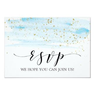 Watercolor Blue and Gold Menu Choice RSVP Card