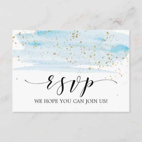 Watercolor Blue and Gold Song Request RSVP Card