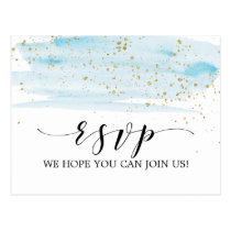 Watercolor Blue and Gold Song Request RSVP Postcard