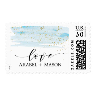 Watercolor Blue and Gold Sparkle Love Wedding Postage