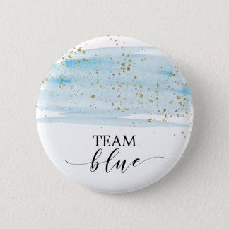 Watercolor Blue and Gold Sparkle Team Blue Button