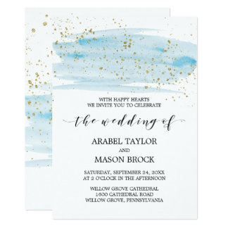 Watercolor Blue and Gold Sparkle Wedding Card