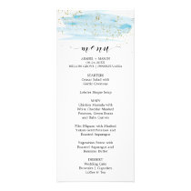 Watercolor Blue and Gold Sparkle Wedding Menu