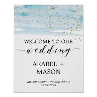 Watercolor Blue and Gold Sparkle Wedding Welcome Poster