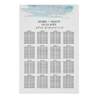 Watercolor Blue and Gold Wedding Seating Chart