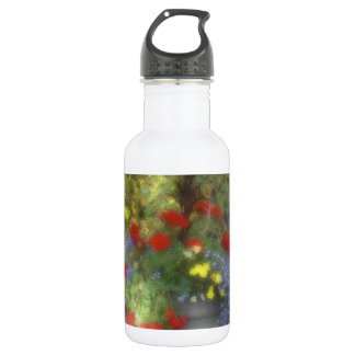 Watercolor Blue and Red Wildflowers 18oz Water Bottle