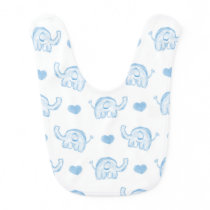 watercolor blue baby elephants and hearts baby bib