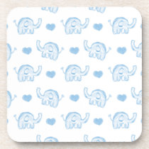 watercolor blue baby elephants and hearts beverage coaster
