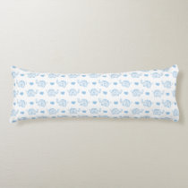 watercolor blue baby elephants and hearts body pillow