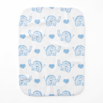watercolor blue baby elephants and hearts burp cloth