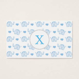 watercolor blue baby elephants and hearts business card