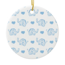 watercolor blue baby elephants and hearts ceramic ornament