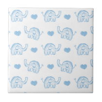 watercolor blue baby elephants and hearts ceramic tile