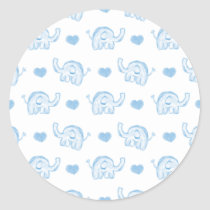 watercolor blue baby elephants and hearts classic round sticker