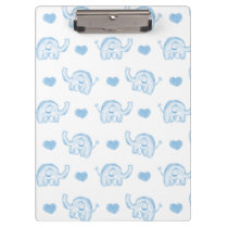 watercolor blue baby elephants and hearts clipboard