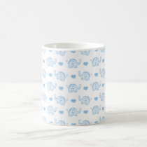 watercolor blue baby elephants and hearts coffee mug