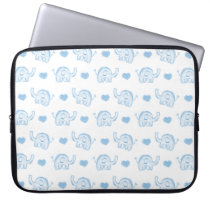 watercolor blue baby elephants and hearts computer sleeve