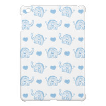 watercolor blue baby elephants and hearts cover for the iPad mini