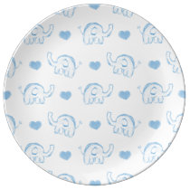 watercolor blue baby elephants and hearts dinner plate