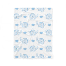 watercolor blue baby elephants and hearts fleece blanket