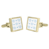 watercolor blue baby elephants and hearts gold cufflinks