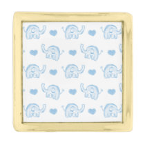 watercolor blue baby elephants and hearts gold finish lapel pin