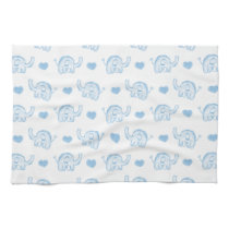 watercolor blue baby elephants and hearts hand towel
