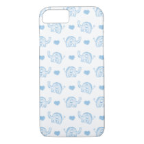 watercolor blue baby elephants and hearts iPhone 8/7 case