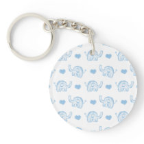 watercolor blue baby elephants and hearts keychain