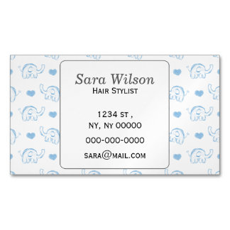 watercolor blue baby elephants and hearts magnetic business card