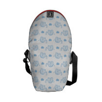 watercolor blue baby elephants and hearts messenger bag