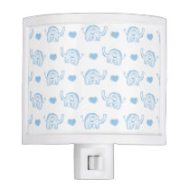 watercolor blue baby elephants and hearts night light