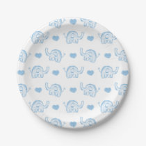 watercolor blue baby elephants and hearts paper plate