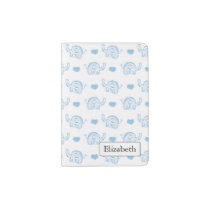 watercolor blue baby elephants and hearts passport holder