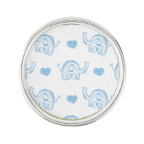 watercolor blue baby elephants and hearts pin