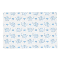 watercolor blue baby elephants and hearts placemat