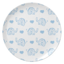 watercolor blue baby elephants and hearts plate