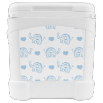 watercolor blue baby elephants and hearts rolling cooler