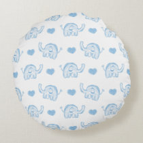watercolor blue baby elephants and hearts round pillow