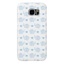 watercolor blue baby elephants and hearts samsung galaxy s6 case