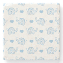 watercolor blue baby elephants and hearts stone coaster