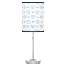 watercolor blue baby elephants and hearts table lamp