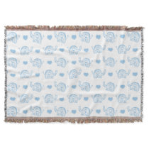 watercolor blue baby elephants and hearts throw