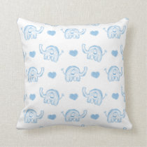 watercolor blue baby elephants and hearts throw pillow
