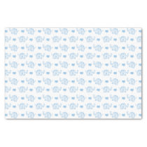 watercolor blue baby elephants and hearts tissue paper