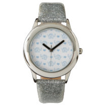 watercolor blue baby elephants and hearts wrist watch